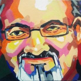 Portrait of Rushdie by Suman Mukherjee